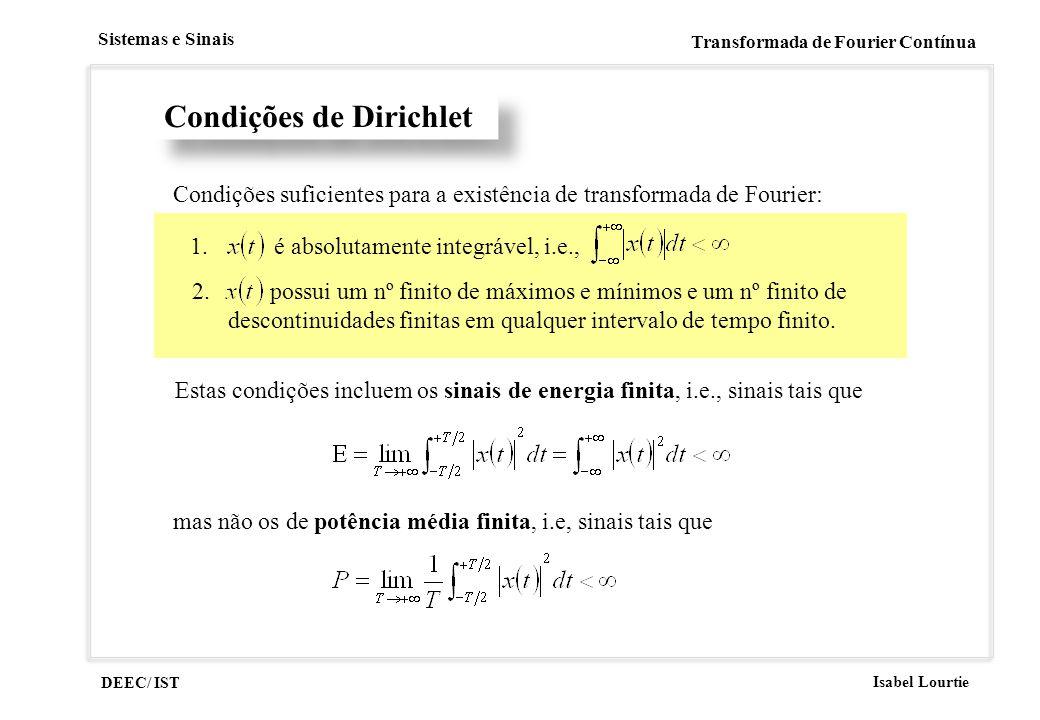 DEEC/ IST Isabel Lourtie Sistemas e Sinais Transformada de Fourier Contínua Condições de Dirichlet Condições suficientes para a existência de transfor