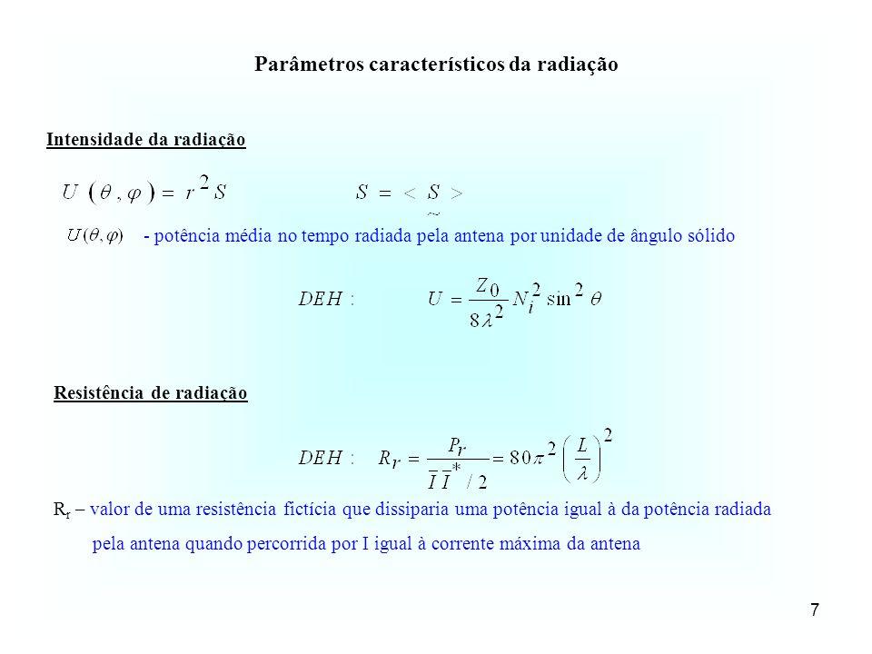 7 Parâmetros característicos da radiação Intensidade da radiação Resistência de radiação R r – valor de uma resistência fictícia que dissiparia uma po