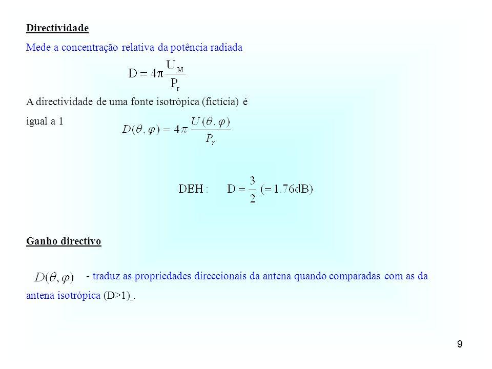 9 Directividade Mede a concentração relativa da potência radiada A directividade de uma fonte isotrópica (fictícia) é igual a 1 - traduz as propriedad