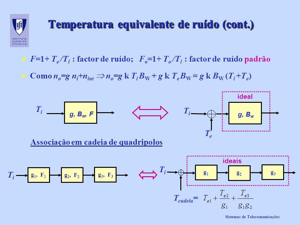 Sistemas de Telecomunicações Temperatura equivalente de ruído (cont.) F=1+ T e /T i : factor de ruído; F o =1+ T o /T i : factor de ruído padrão Como