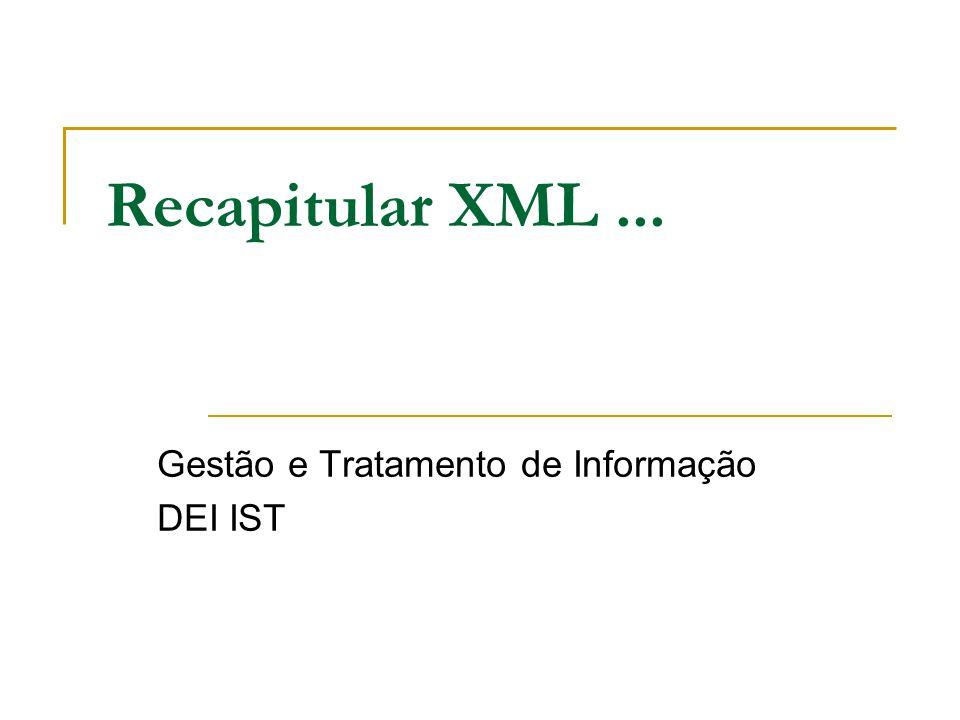 Recapitular XML... Gestão e Tratamento de Informação DEI IST