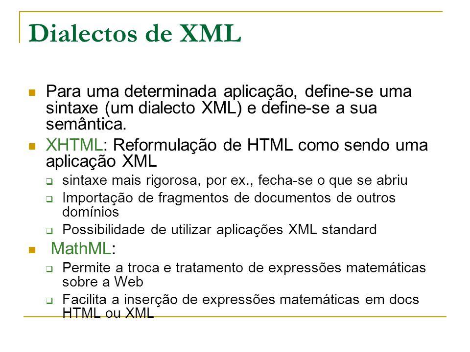 Dialectos de XML Para uma determinada aplicação, define-se uma sintaxe (um dialecto XML) e define-se a sua semântica.