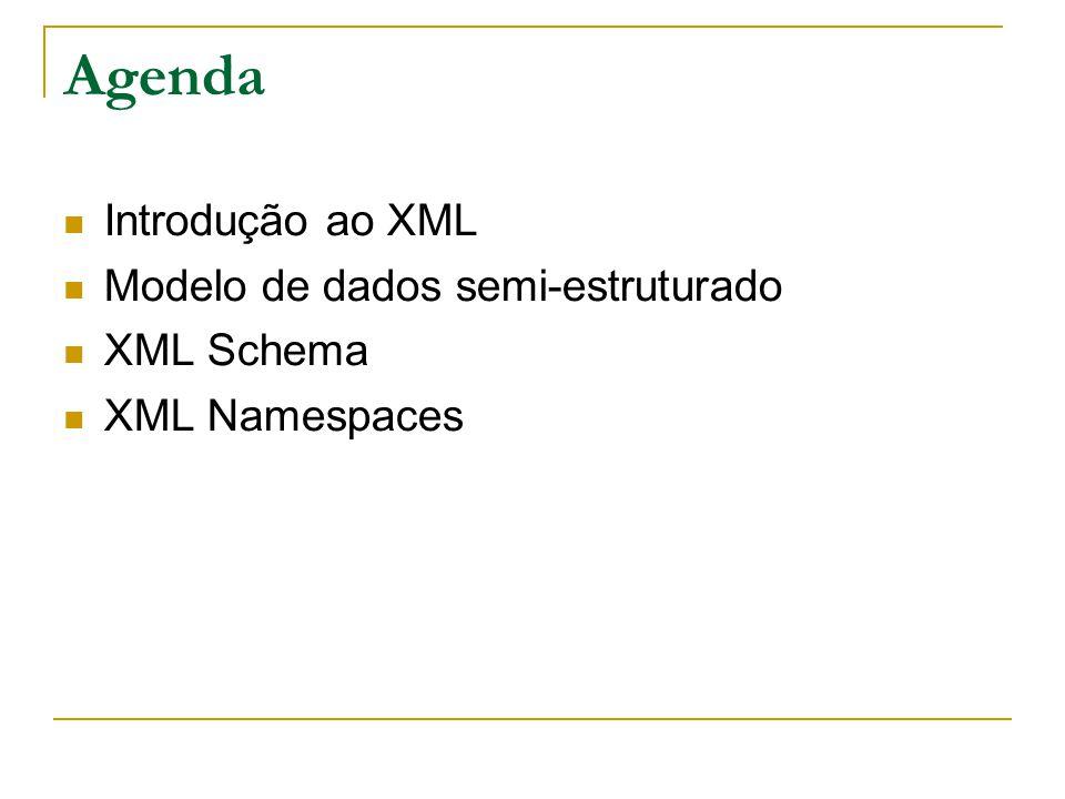 XML 1.0: Sintaxe dos atributos Um atributo é um par nome= valor que caracteriza um elemento Um elemento pode ter vários atributos (separados por espaço): a ordem não tem importância O valor de um atributo é uma cadeia delimitada por aspas ( ) ou ( ).