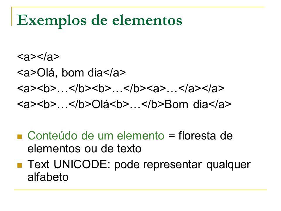 Exemplos de elementos Olá, bom dia … … … … Olá … Bom dia Conteúdo de um elemento = floresta de elementos ou de texto Text UNICODE: pode representar qualquer alfabeto
