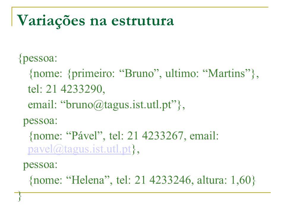 Variações na estrutura {pessoa: {nome: {primeiro: Bruno, ultimo: Martins}, tel: 21 4233290, email: bruno@tagus.ist.utl.pt}, pessoa: {nome: Pável, tel: 21 4233267, email: pavel@tagus.ist.utl.pt}, pavel@tagus.ist.utl.pt pessoa: {nome: Helena, tel: 21 4233246, altura: 1,60} }