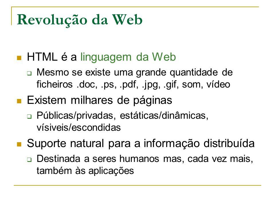 Revolução da Web HTML é a linguagem da Web Mesmo se existe uma grande quantidade de ficheiros.doc,.ps,.pdf,.jpg,.gif, som, vídeo Existem milhares de páginas Públicas/privadas, estáticas/dinâmicas, vísiveis/escondidas Suporte natural para a informação distribuída Destinada a seres humanos mas, cada vez mais, também às aplicações