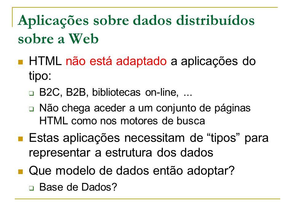Modelo BD relacional vs Modelo dados Web (1) Modelo de dados relacional: Conhece-se a estrutura das tabelas e a semântica das colunas; não sobre a Web Estrutura dos dados fixa vs irregular Falta de dados Estrutura explícita vs implícita