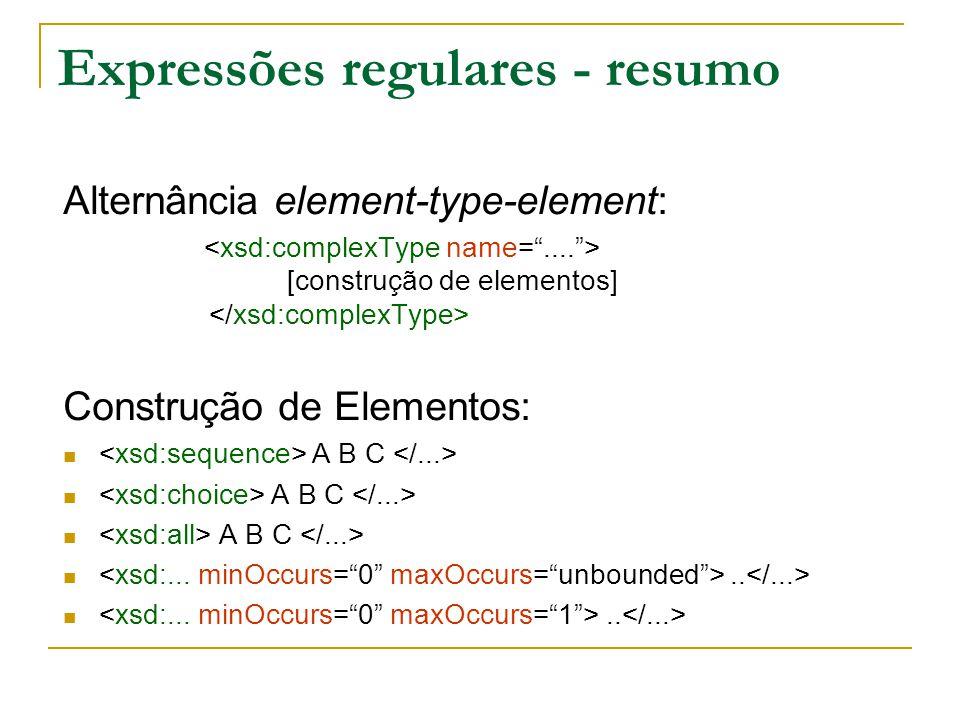 Expressões regulares - resumo Alternância element-type-element: [construção de elementos] Construção de Elementos: A B C..