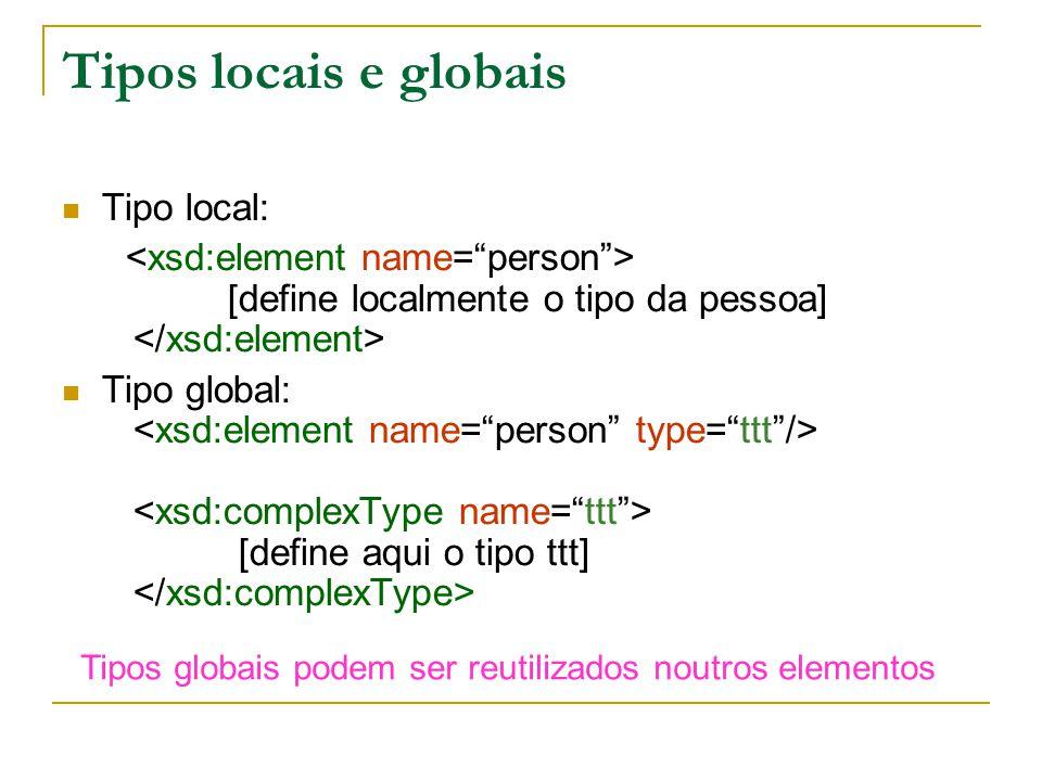 Tipos locais e globais Tipo local: [define localmente o tipo da pessoa] Tipo global: [define aqui o tipo ttt] Tipos globais podem ser reutilizados noutros elementos