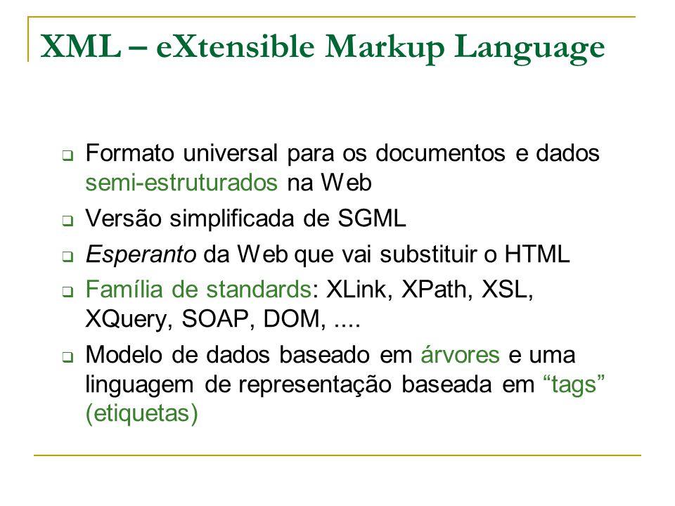 XML 1.0: estrutura de um elemento Um elemento tem a forma: conteúdo é a tag de abertura é a tag de fecho [ elementos vazios: ou ] «conteúdo» é o conteúdo de um elemento.