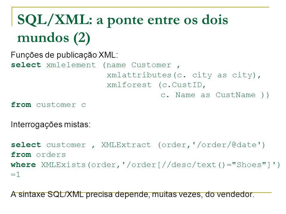 SQL/XML: a ponte entre os dois mundos (2) Funções de publicação XML: select xmlelement (name Customer, xmlattributes(c.