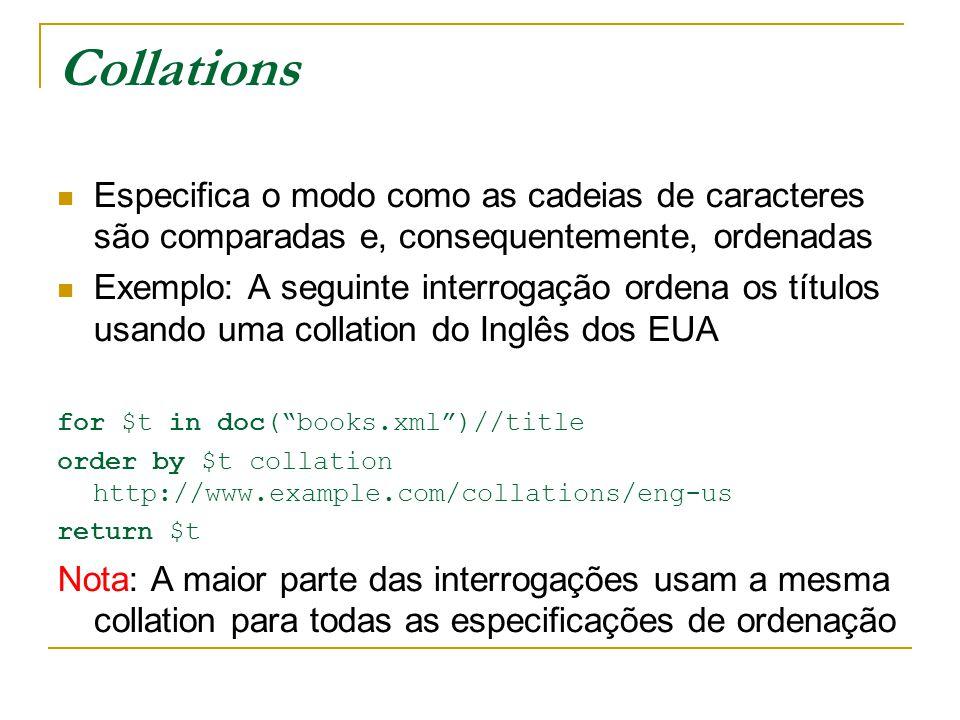 Exemplo declare function local:minPrice($p as xs:decimal, $d as xs:decimal) AS xs:decimal { let $disc := ($p * $d) div 100 return ($p - $disc) }