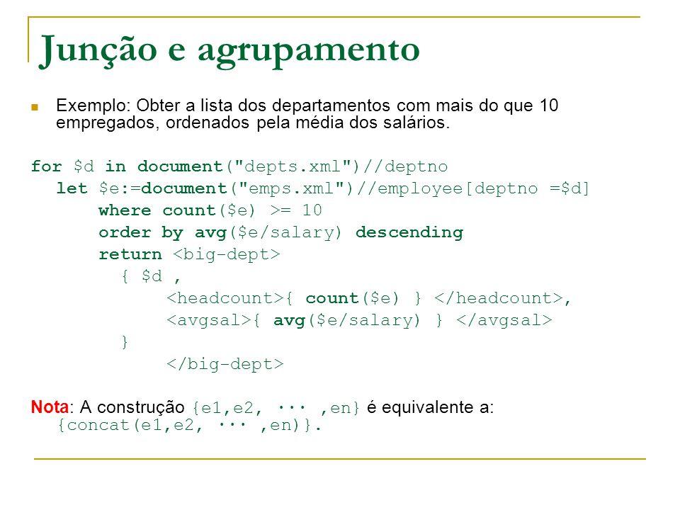 SQL/XML: a ponte entre os dois mundos (1) As versões recentes do SQL (2003) incluem: Um tipo atómico XML nativo, que pode ser interrogado no estilo XQuery Um conjunto de funções de publicação XML: que permitem extrair elementos de XML a partir de dados relacionais usando interrogações Regras de mapeamento: permitem exportar tabelas relacionais em XML Vantagens: Manipulação uniforme de dados relacionais e XML Motor de interrogações relacionais bem explorado Facilidade de transformação de um formato no outro Desvantagens: Complexidade