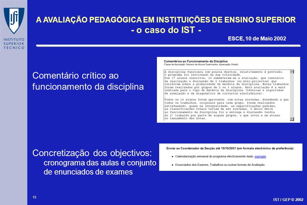 15 A AVALIAÇÃO PEDAGÓGICA EM INSTITUIÇÕES DE ENSINO SUPERIOR - o caso do IST - ESCE, 10 de Maio 2002 IST / GEP © 2002 Comentário crítico ao funcioname