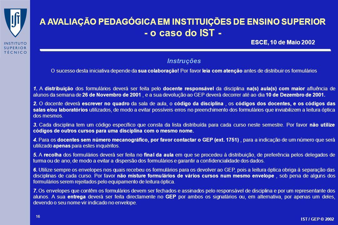 16 A AVALIAÇÃO PEDAGÓGICA EM INSTITUIÇÕES DE ENSINO SUPERIOR - o caso do IST - ESCE, 10 de Maio 2002 IST / GEP © 2002 Instruções O sucesso desta inici
