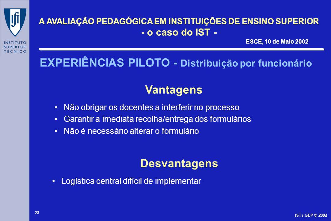 28 A AVALIAÇÃO PEDAGÓGICA EM INSTITUIÇÕES DE ENSINO SUPERIOR - o caso do IST - ESCE, 10 de Maio 2002 IST / GEP © 2002 EXPERIÊNCIAS PILOTO - Distribuiç