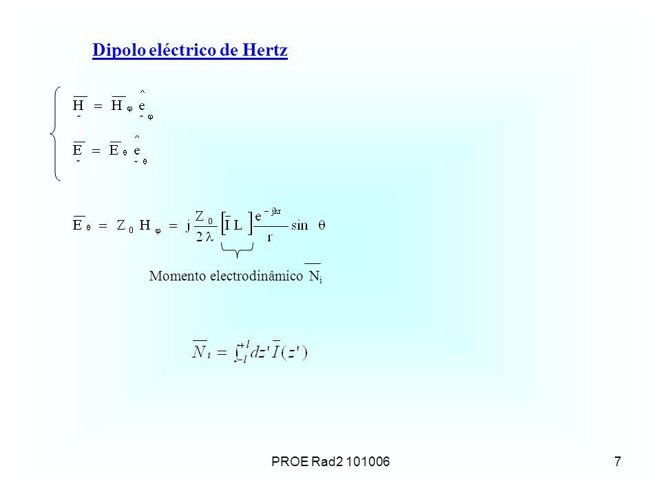 PROE Rad2 1010068 Campos do DEH na zona distante Os campos na zona distante (campos de radiação): são ortogonais entre si são perpendiculares à direcção radial estão em fase têm amplitudes que variam com estão relacionados pela impedância característica de onda