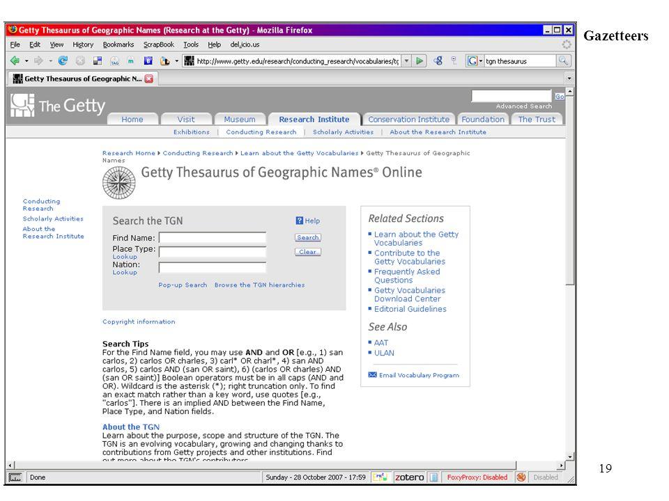 19 Gazetteers