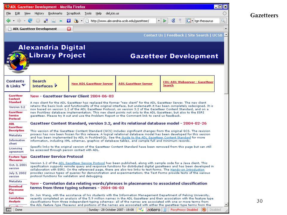 30 Gazetteers