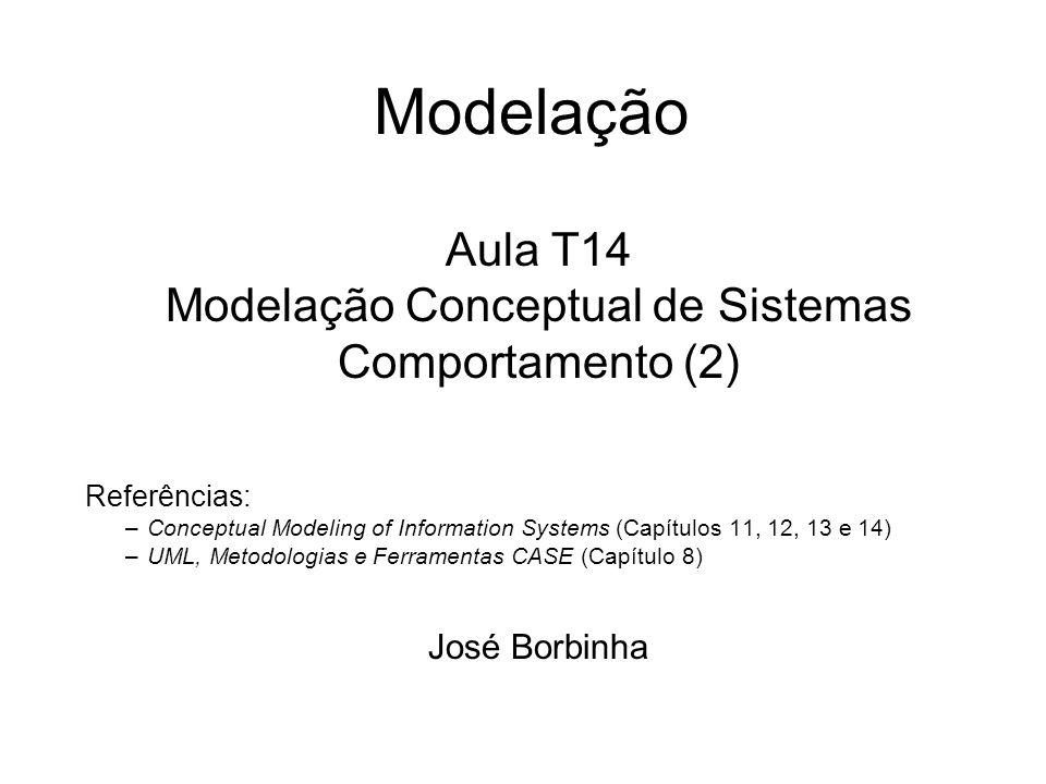 Modelação Aula T14 Modelação Conceptual de Sistemas Comportamento (2) Referências: –Conceptual Modeling of Information Systems (Capítulos 11, 12, 13 e 14) –UML, Metodologias e Ferramentas CASE (Capítulo 8) José Borbinha