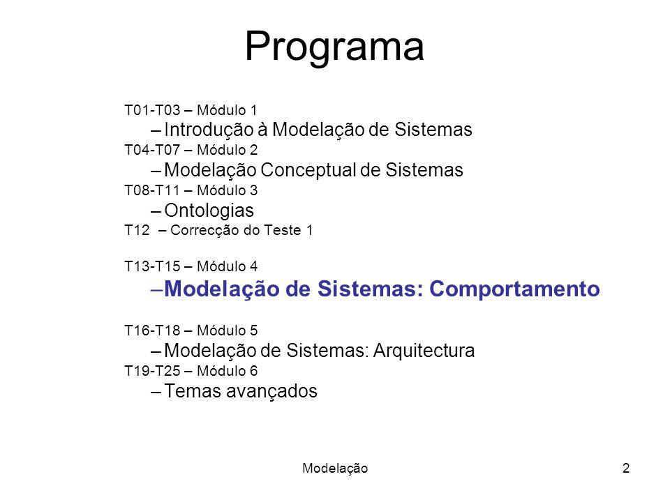 Programa T01-T03 – Módulo 1 –Introdução à Modelação de Sistemas T04-T07 – Módulo 2 –Modelação Conceptual de Sistemas T08-T11 – Módulo 3 –Ontologias T12 – Correcção do Teste 1 T13-T15 – Módulo 4 –Modelação de Sistemas: Comportamento T16-T18 – Módulo 5 –Modelação de Sistemas: Arquitectura T19-T25 – Módulo 6 –Temas avançados 2Modelação