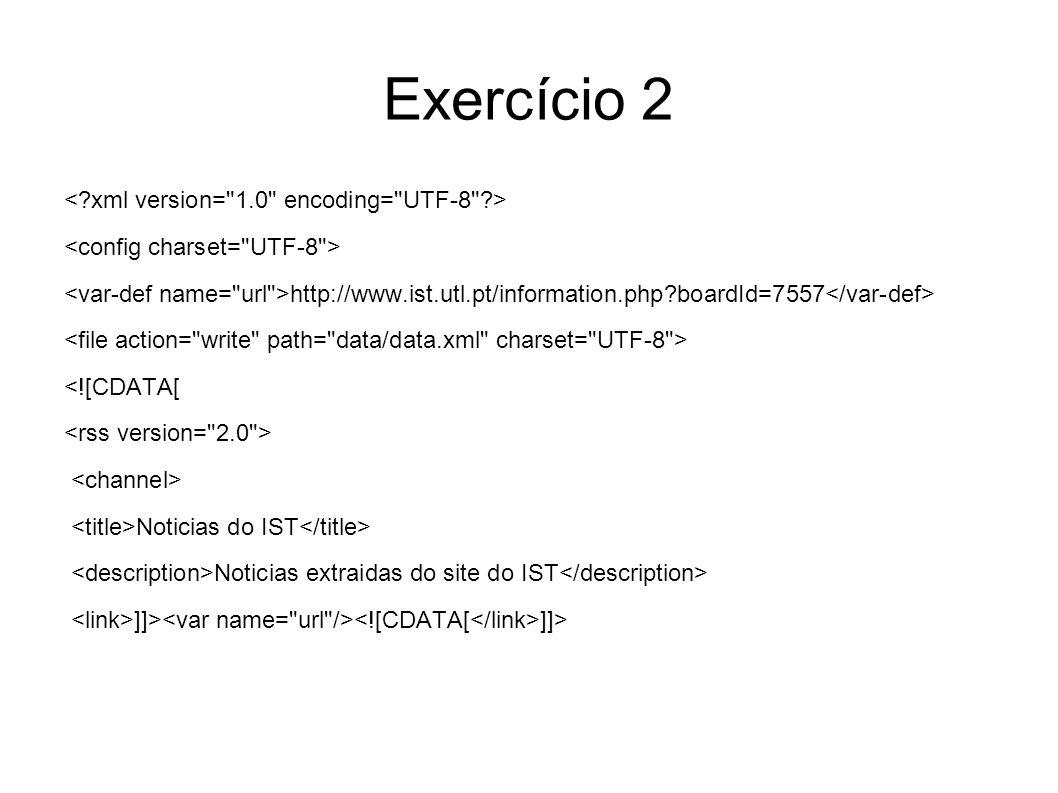 Exercício 2 <![CDATA[ declare variable $doc as node() external; for $i in 1 to count($doc//h3) let $title := data($doc//h3[@class= mtop2 ])[$i] let $description := data($doc//div[@class= ann ])[$i] let $date := data($doc//p[@class= post_date ])[$i] let $author := data($doc//div[@class= ann ]/p[@class= grey_bright ]/a)[$i]