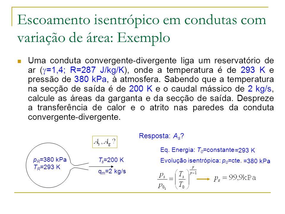 Escoamento isentrópico em condutas com variação de área: Exemplo Uma conduta convergente-divergente liga um reservatório de ar ( =1,4; R=287 J/kg/K),