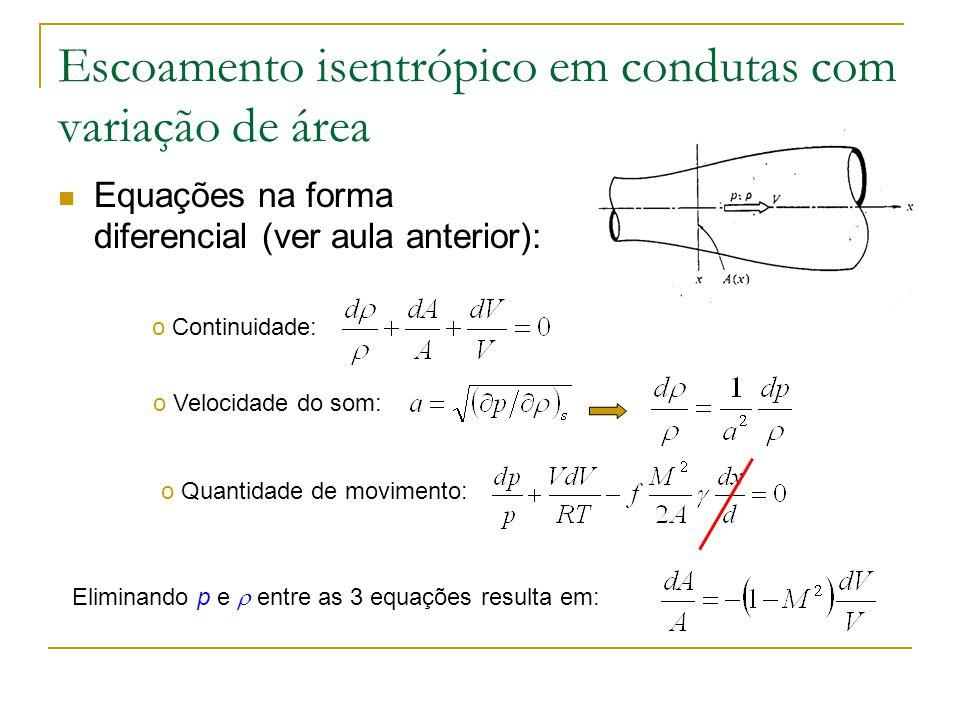 Escoamento isentrópico em condutas com variação de área Equações na forma diferencial (ver aula anterior): o Continuidade: o Quantidade de movimento: