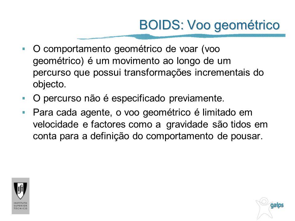 BOIDS: Voo geométrico O comportamento geométrico de voar (voo geométrico) é um movimento ao longo de um percurso que possui transformações incrementais do objecto.