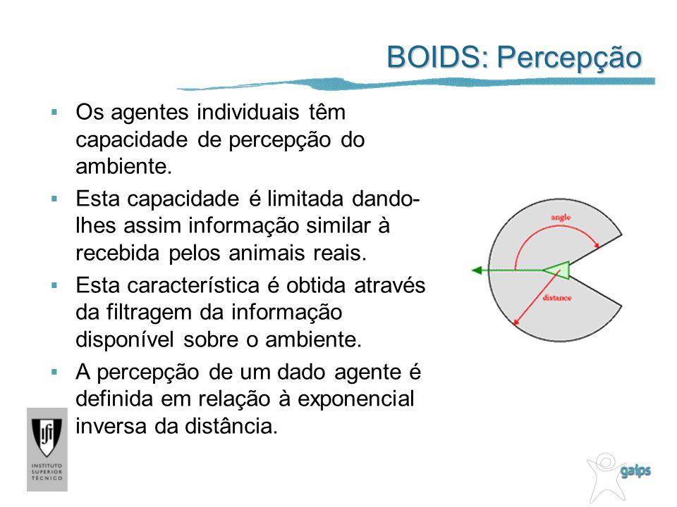 BOIDS: Percepção Os agentes individuais têm capacidade de percepção do ambiente.