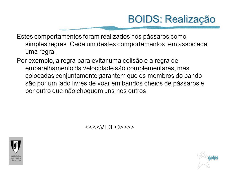 BOIDS: Realização Estes comportamentos foram realizados nos pássaros como simples regras.