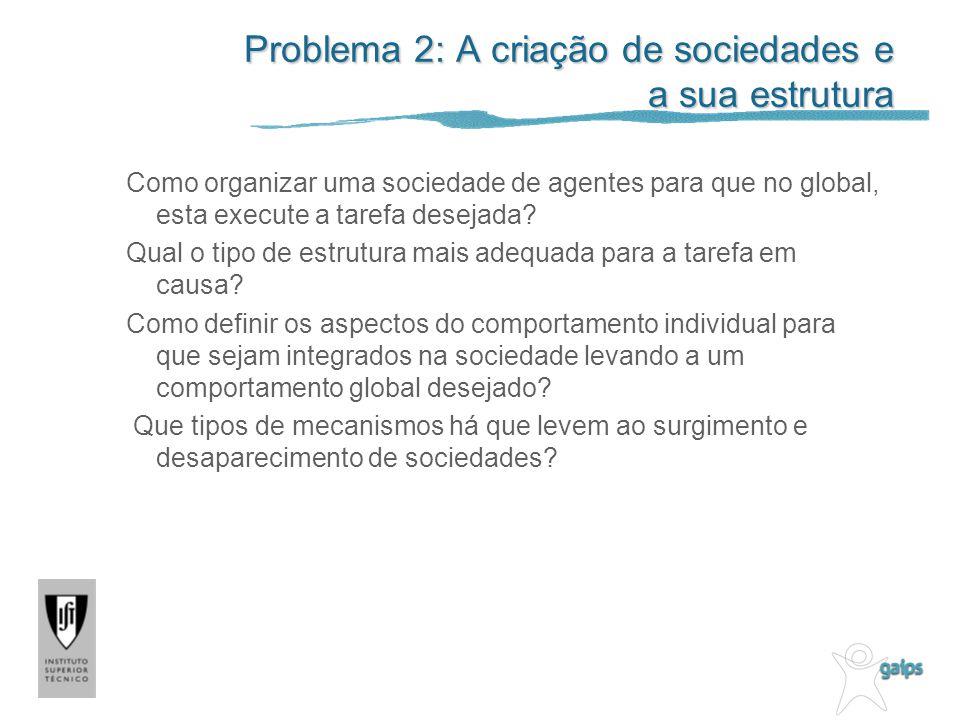 Problema 2: A criação de sociedades e a sua estrutura Como organizar uma sociedade de agentes para que no global, esta execute a tarefa desejada.