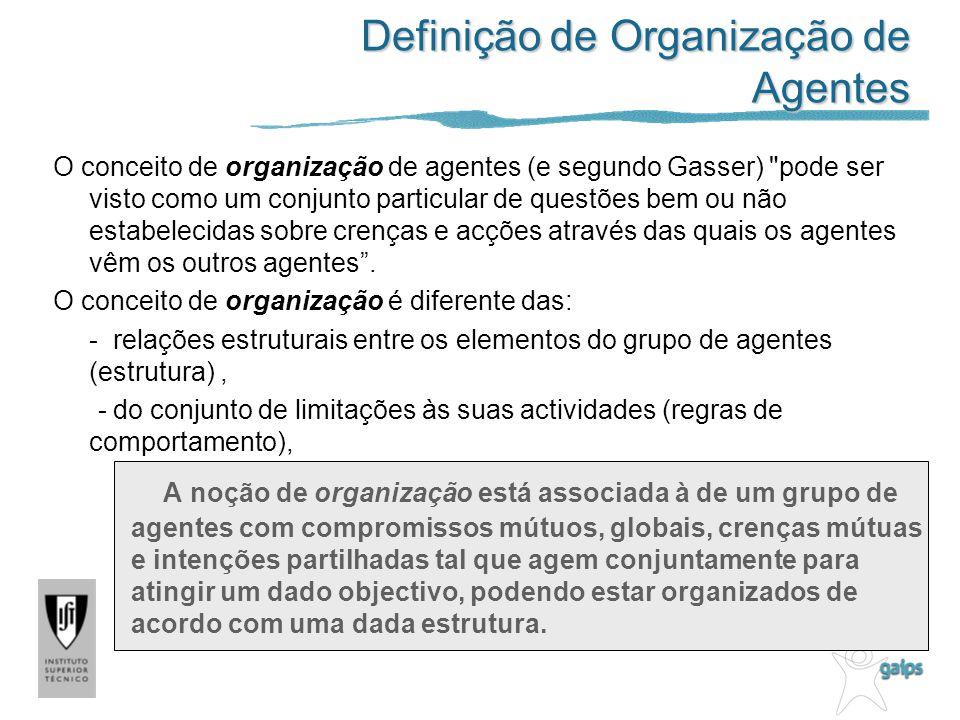 Definição de Organização de Agentes O conceito de organização de agentes (e segundo Gasser) pode ser visto como um conjunto particular de questões bem ou não estabelecidas sobre crenças e acções através das quais os agentes vêm os outros agentes.