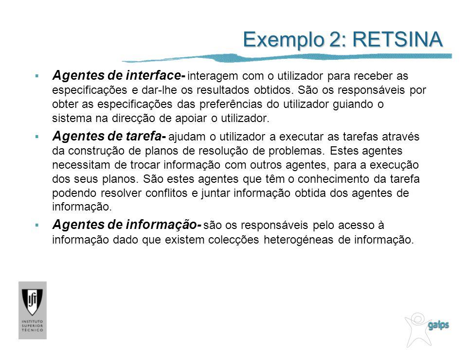 Exemplo 2: RETSINA Agentes de interface- interagem com o utilizador para receber as especificações e dar-lhe os resultados obtidos.