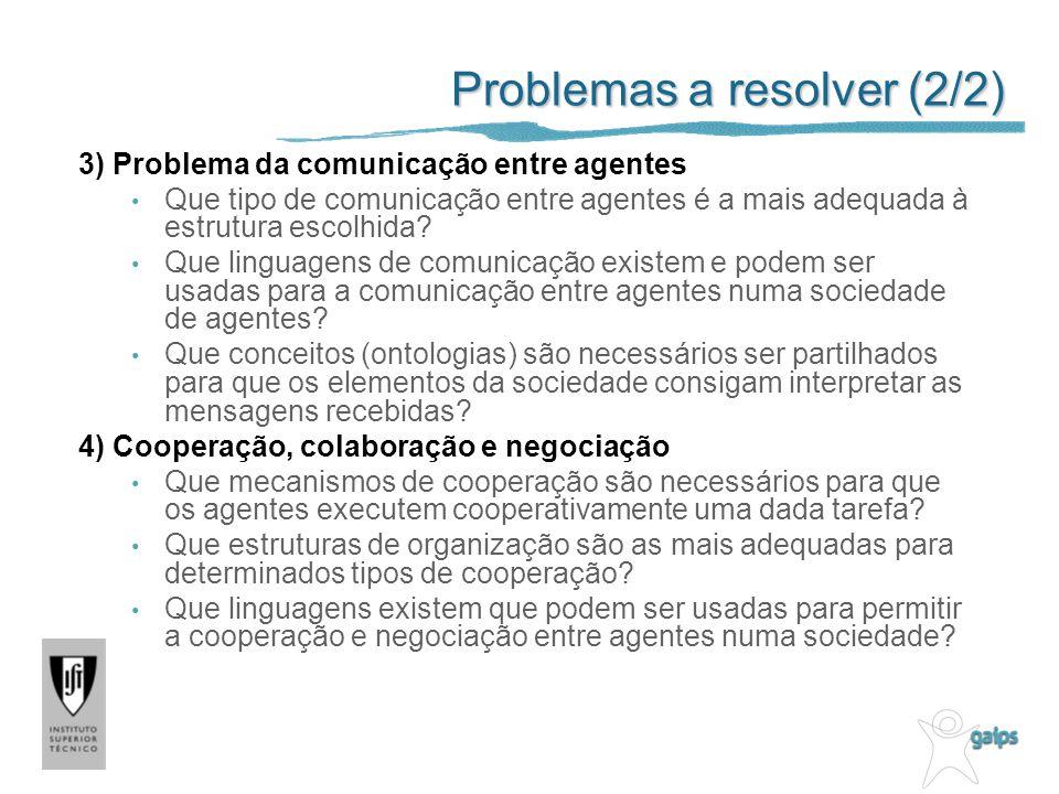 Problemas a resolver (2/2) 3) Problema da comunicação entre agentes Que tipo de comunicação entre agentes é a mais adequada à estrutura escolhida.