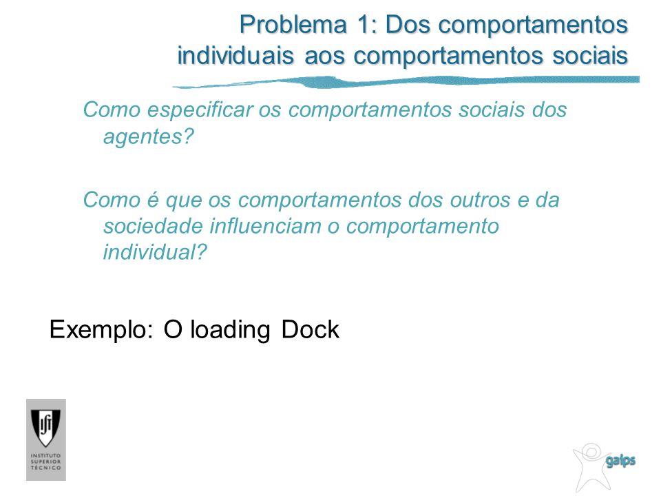 Problema 1: Dos comportamentos individuais aos comportamentos sociais Como especificar os comportamentos sociais dos agentes? Como é que os comportame