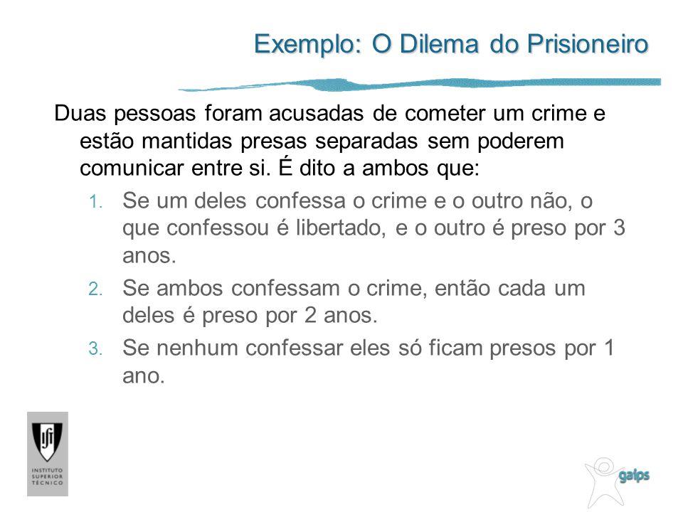 Exemplo: O Dilema do Prisioneiro Duas pessoas foram acusadas de cometer um crime e estão mantidas presas separadas sem poderem comunicar entre si. É d