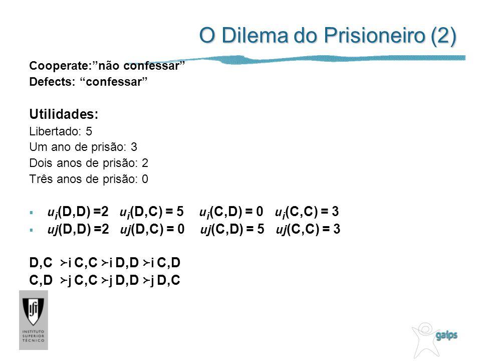 O Dilema do Prisioneiro (2) Cooperate:não confessar Defects: confessar Utilidades: Libertado: 5 Um ano de prisão: 3 Dois anos de prisão: 2 Três anos de prisão: 0 u i (D,D) =2 u i (D,C) = 5 u i (C,D) = 0 u i (C,C) = 3 uj (D,D) =2 uj (D,C) = 0 uj (C,D) = 5 uj (C,C) = 3 D,C i C,C i D,D i C,D C,D j C,C j D,D j D,C