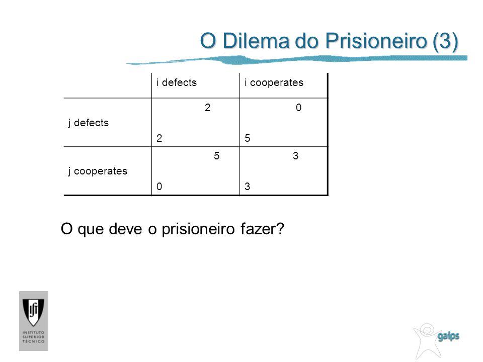 O Dilema do Prisioneiro (3) i defectsi cooperates j defects 2 0 5 j cooperates 5 0 3 O que deve o prisioneiro fazer?
