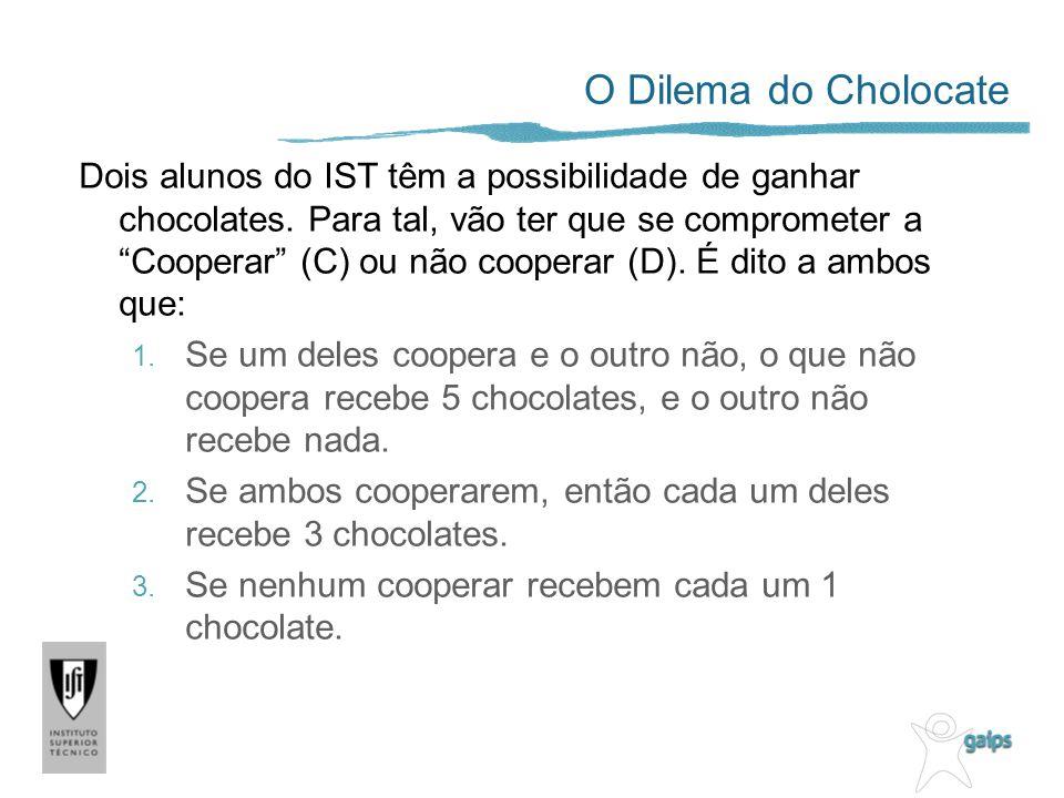 O Dilema do Cholocate Dois alunos do IST têm a possibilidade de ganhar chocolates. Para tal, vão ter que se comprometer a Cooperar (C) ou não cooperar