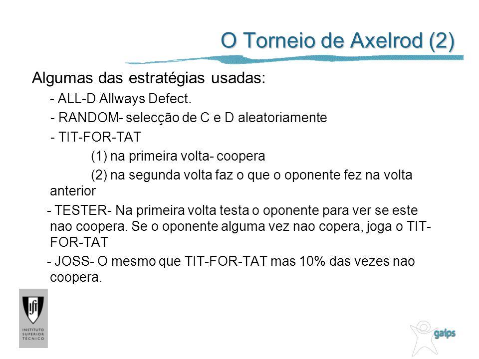 O Torneio de Axelrod (2) Algumas das estratégias usadas: - ALL-D Allways Defect. - RANDOM- selecção de C e D aleatoriamente - TIT-FOR-TAT (1) na prime