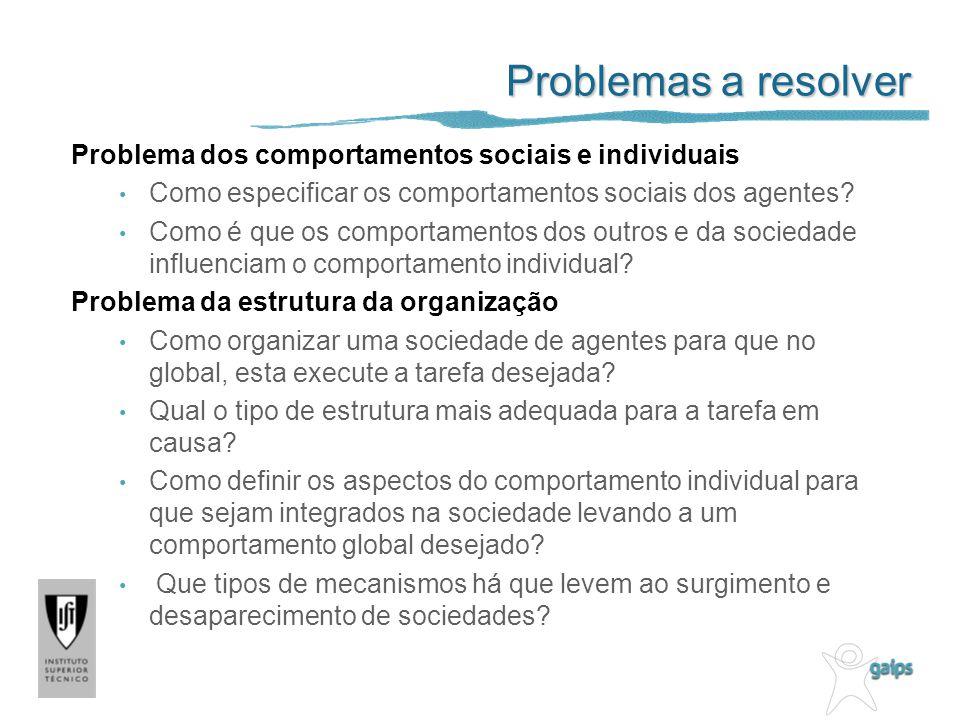 Problemas a resolver Problema dos comportamentos sociais e individuais Como especificar os comportamentos sociais dos agentes? Como é que os comportam