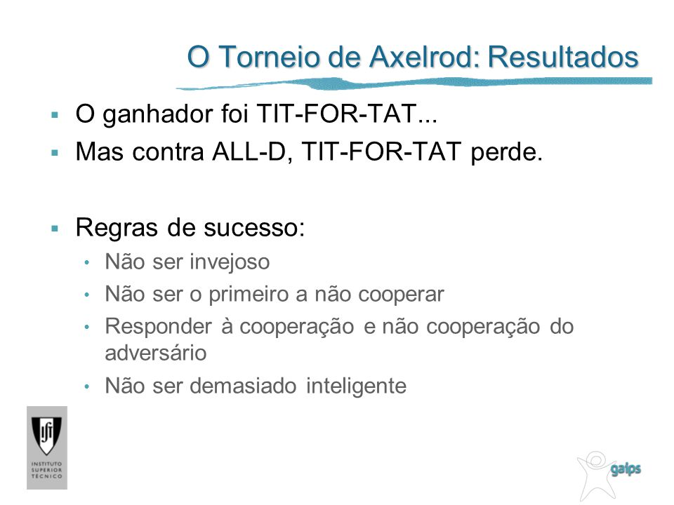 O Torneio de Axelrod: Resultados O ganhador foi TIT-FOR-TAT... Mas contra ALL-D, TIT-FOR-TAT perde. Regras de sucesso: Não ser invejoso Não ser o prim