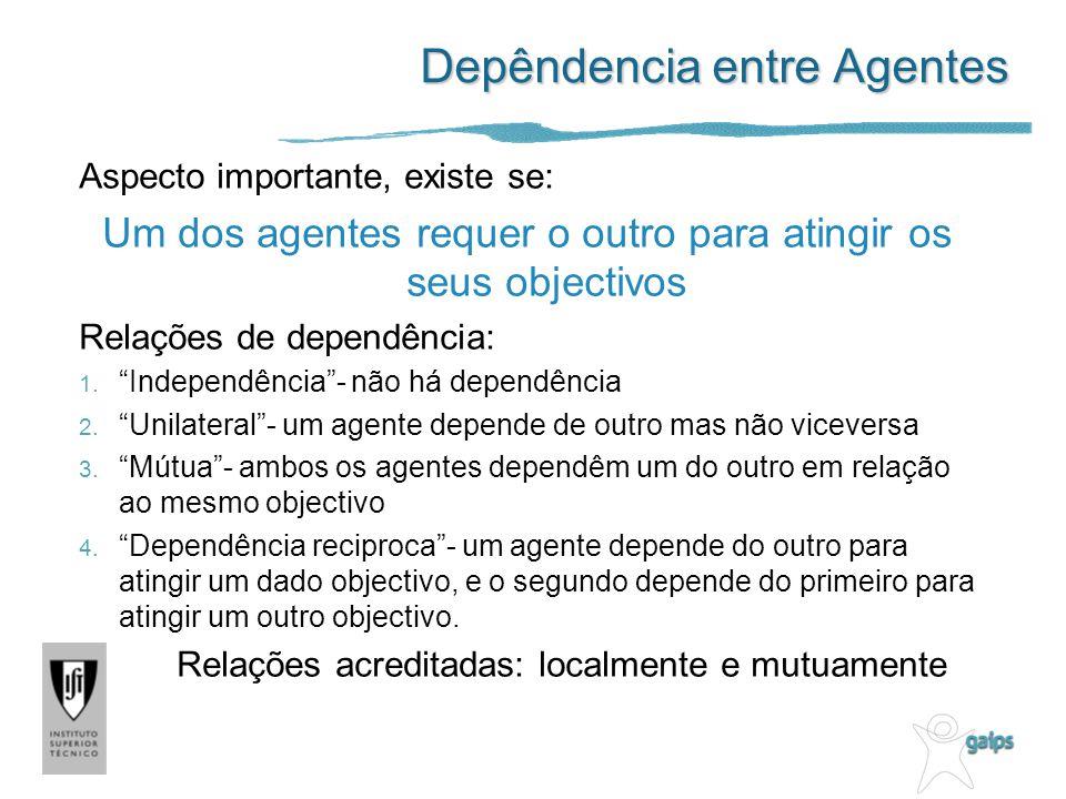 Depêndencia entre Agentes Aspecto importante, existe se: Um dos agentes requer o outro para atingir os seus objectivos Relações de dependência: 1. Ind