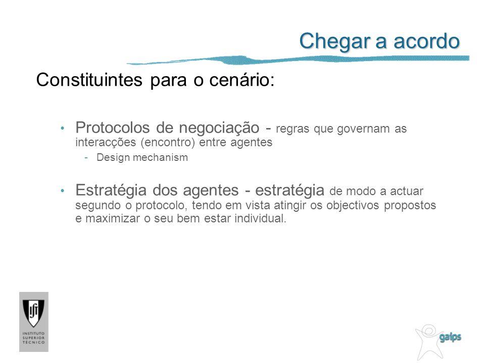 Chegar a acordo Constituintes para o cenário: Protocolos de negociação - regras que governam as interacções (encontro) entre agentes -Design mechanism