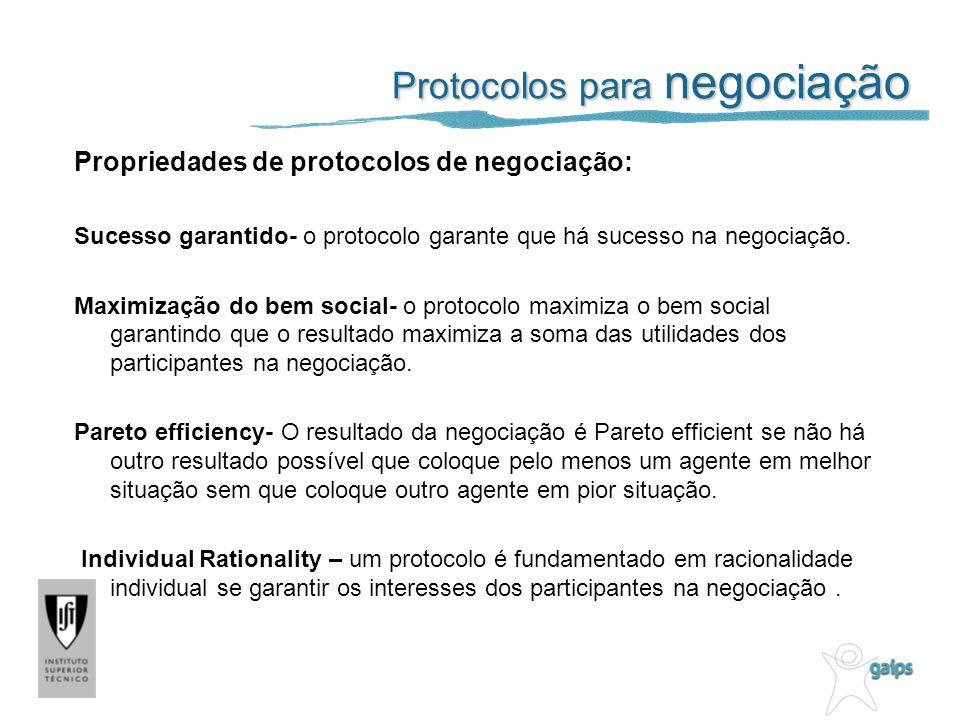 Protocolos para negociação Propriedades de protocolos de negociação: Sucesso garantido- o protocolo garante que há sucesso na negociação. Maximização