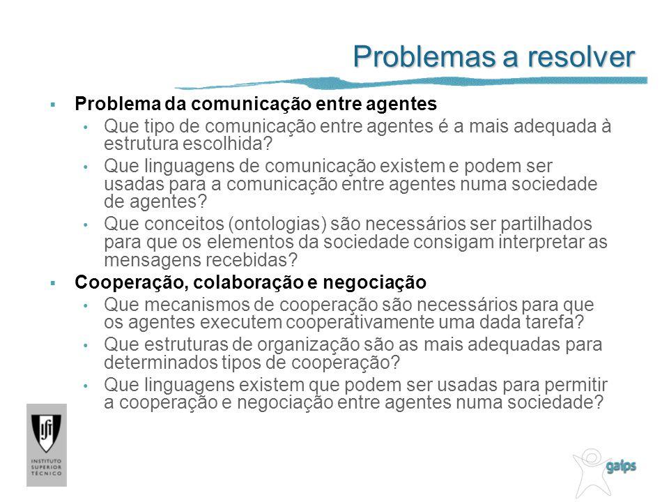 Problemas a resolver Problema da comunicação entre agentes Que tipo de comunicação entre agentes é a mais adequada à estrutura escolhida? Que linguage