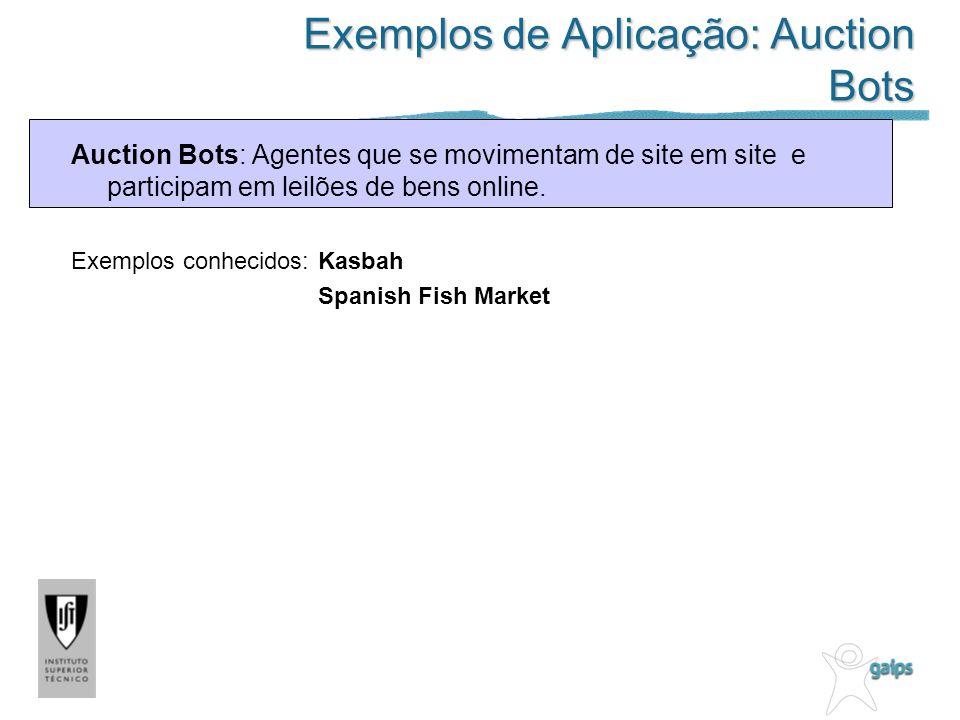 Exemplos de Aplicação: Auction Bots Auction Bots: Agentes que se movimentam de site em site e participam em leilões de bens online.