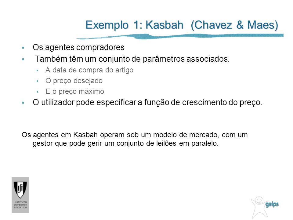 Exemplo 1: Kasbah (Chavez & Maes) Os agentes compradores Também têm um conjunto de parâmetros associados : A data de compra do artigo O preço desejado E o preço máximo O utilizador pode especificar a função de crescimento do preço.