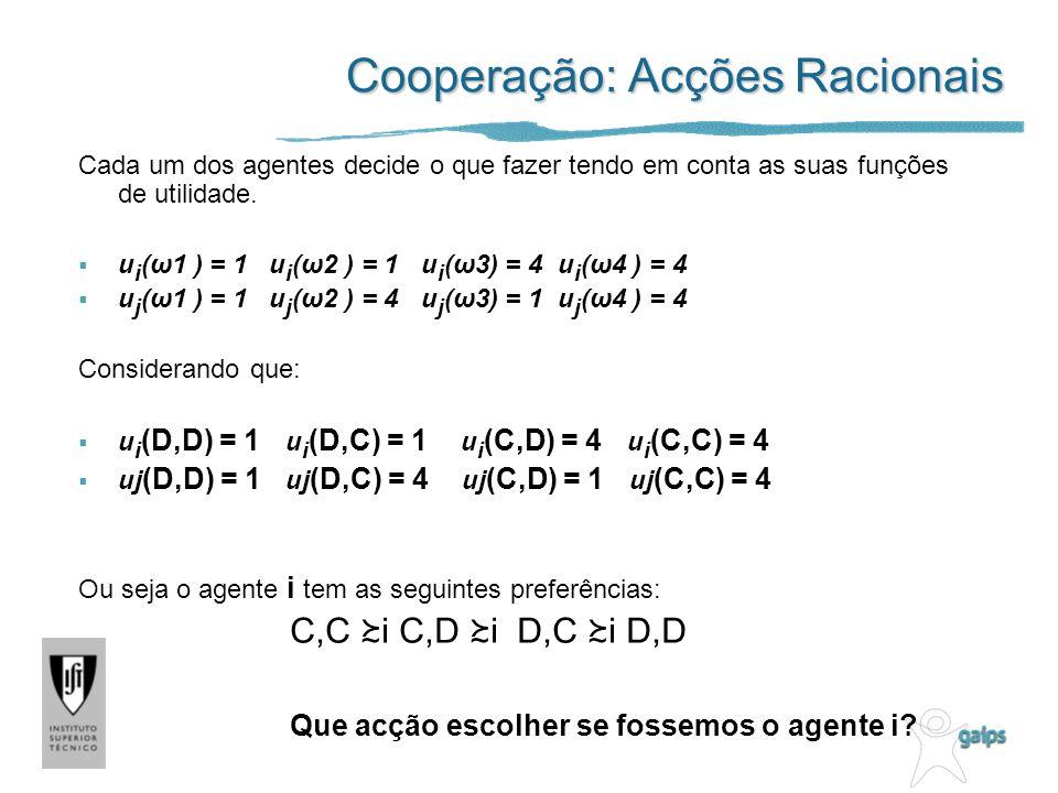 Cooperação: Acções Racionais Cada um dos agentes decide o que fazer tendo em conta as suas funções de utilidade. u i (ω1 ) = 1 u i (ω2 ) = 1 u i (ω3)